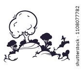 funny cartoon landscape  line... | Shutterstock .eps vector #1108077782