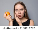 young woman with acne problem... | Shutterstock . vector #1108111202