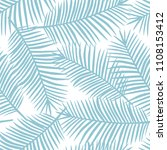 light blue palm leaves on a... | Shutterstock .eps vector #1108153412