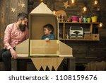 dreams of space. kid happy sit... | Shutterstock . vector #1108159676