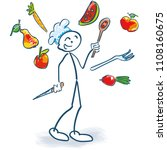 stick figure as a cook juggles... | Shutterstock .eps vector #1108160675