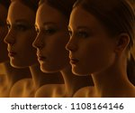 closeup of the mysterious faces ... | Shutterstock . vector #1108164146