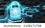black blue abstract padlock... | Shutterstock . vector #1108171748
