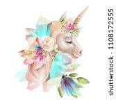 beautiful  cute  watercolor... | Shutterstock . vector #1108172555