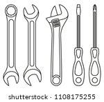 line art black and white wrench ... | Shutterstock .eps vector #1108175255