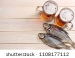 glass beer with dried fish on... | Shutterstock . vector #1108177112