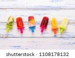 homemade colorful fruit... | Shutterstock . vector #1108178132