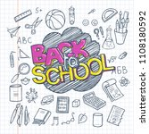 back to school supplies... | Shutterstock .eps vector #1108180592