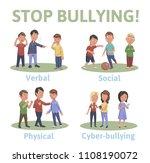 stop bullying in the school. 4... | Shutterstock . vector #1108190072