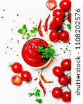 spicy tomato ketchup sauce with ... | Shutterstock . vector #1108202576