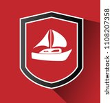 boat and shield icon. logo...   Shutterstock .eps vector #1108207358