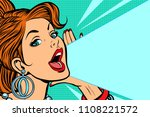 lady announces and promotes.... | Shutterstock .eps vector #1108221572