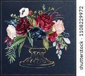 watercolor hand painted wedding ... | Shutterstock . vector #1108229972