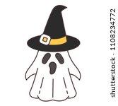 ghost wearing a halloween hat | Shutterstock .eps vector #1108234772