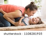 family   mom and kid daughter... | Shutterstock . vector #1108281935