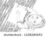 artist. cute girl draws... | Shutterstock .eps vector #1108284692