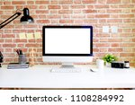 workspace office table with pc... | Shutterstock . vector #1108284992