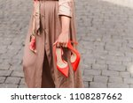 elegant red high heels shoes in ... | Shutterstock . vector #1108287662