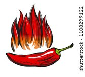 chili pepper and flame abstract ... | Shutterstock .eps vector #1108299122