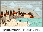 the old town on the seashore.... | Shutterstock .eps vector #1108312448