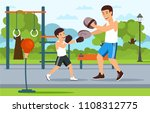 cartoon father in boxer shorts... | Shutterstock .eps vector #1108312775