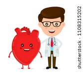 cute funny smiling doctor and... | Shutterstock . vector #1108315202