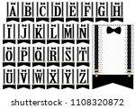 black bow tie and suspenders.... | Shutterstock .eps vector #1108320872