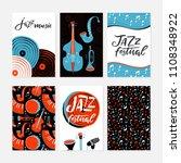 vector set of jazz festival...   Shutterstock .eps vector #1108348922