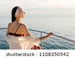 a rich young girl went on a sea ... | Shutterstock . vector #1108350542
