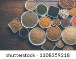 uncooked pulses grains and... | Shutterstock . vector #1108359218