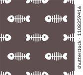 cartoon fishbone. seamless... | Shutterstock .eps vector #1108359416