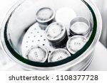 set of small metal weights in... | Shutterstock . vector #1108377728