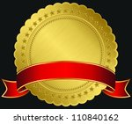 golden blank label with red... | Shutterstock .eps vector #110840162