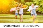 active girls run cheerful in...   Shutterstock . vector #1108402292
