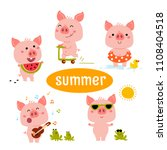 little pink piggy different...   Shutterstock .eps vector #1108404518
