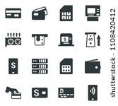 black vector icon set credit... | Shutterstock .eps vector #1108420412