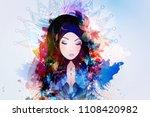 a girl prays to god  the...   Shutterstock .eps vector #1108420982