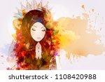 a girl prays to god  the...   Shutterstock .eps vector #1108420988
