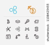 blockchain icons set. coin...
