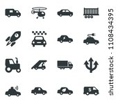 black vector icon set tractor... | Shutterstock .eps vector #1108434395