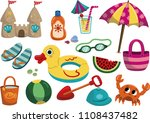 cartoon summer objects isolated ... | Shutterstock .eps vector #1108437482