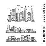 city landscape pattern. thin... | Shutterstock .eps vector #1108438598