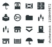 black vector icon set 24 around ... | Shutterstock .eps vector #1108449872