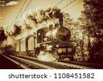 steam train running on rails ...   Shutterstock . vector #1108451582