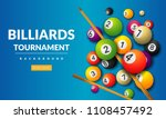 pool billiards tournament...   Shutterstock .eps vector #1108457492