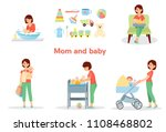 mother and baby big set.... | Shutterstock .eps vector #1108468802