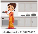 indian woman in kitchen serving ... | Shutterstock .eps vector #1108471412