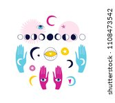 magical doodle set hands with... | Shutterstock .eps vector #1108473542