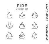 set line icons of fire | Shutterstock .eps vector #1108476995
