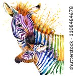 zebra illustration with splash... | Shutterstock . vector #1108484678